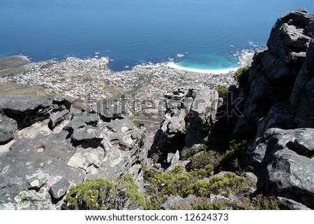 View from Table Mountain (Cape Town; South Africa) - stock photo