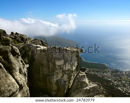 View from Table mountain to 12 appostoles - stock photo