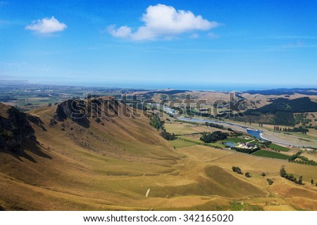 View from Te Mata Peak, Hawkes Bay, New Zealand - stock photo
