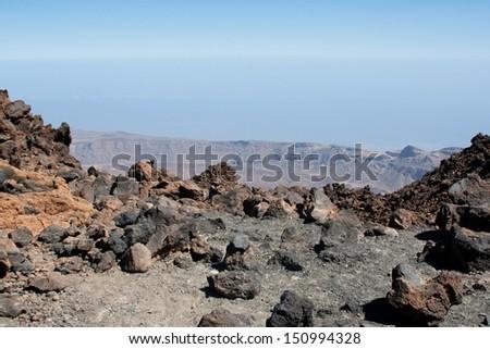 View from Teide peak on Tenerife. Teide National Park. Canary islands. Spain - stock photo