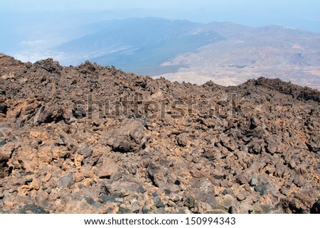 View from Teide peak on Tenerife. Teide National Park. Canary islands. Spain
