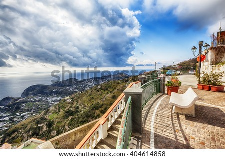 view from terrace , Ischia island in Italy