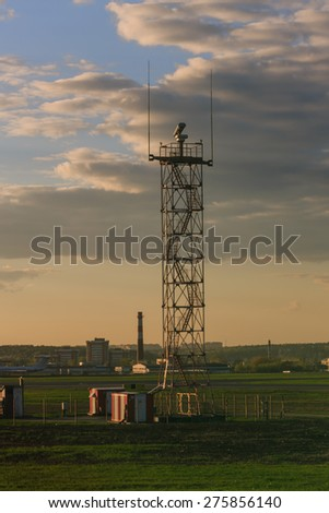 View from the airplane. Lookout at the airport. Concept travel. - stock photo