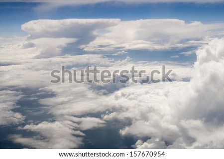 view from the airplane: the clouds