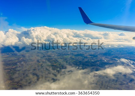 View from the airplane.View of the earth from an airplane