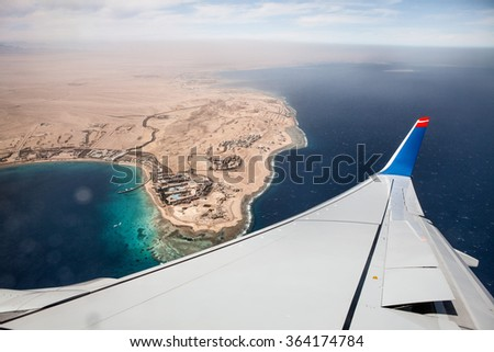 View from the Airplane while flying to Egypt - stock photo