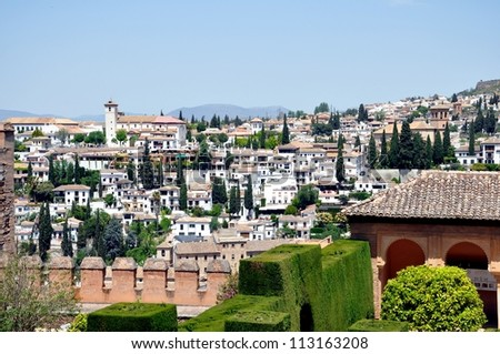 View from the Alhambra in Spain - stock photo