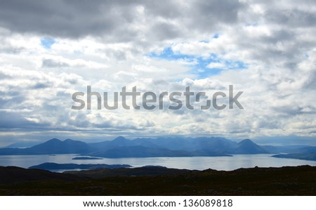 View from the Applecross peninsula looking over towards the Cuillins, the Isle of Skye and Raasay