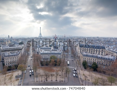view from the Arc de Triumph across Paris France