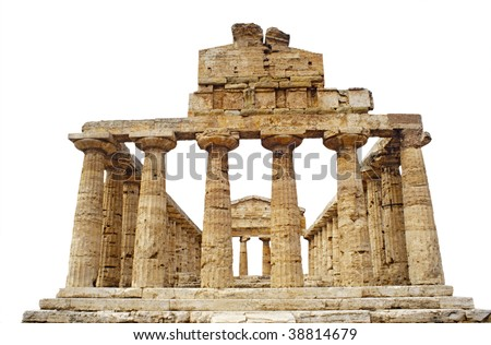 View from the back of the Greek Temple of Athena in Paestum, Italy built around 500 BC, isolated against a white background - stock photo