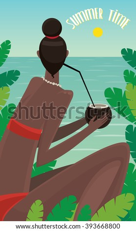 View from the back on dark-skinned girl sitting in jungle, looking at ocean and drinking coconut - Summer Time concept and lettering. Raster version of illustration - stock photo