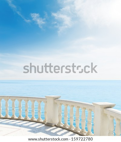 view from the balcony to sea under clouds - stock photo