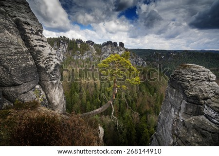 view from the Bastei , Saxon Switzerland, Germany - stock photo