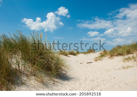 View from the beach at Nymindegab beach in Denmark - stock photo