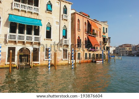 View from the boat on the Grand Canal, Venice - stock photo