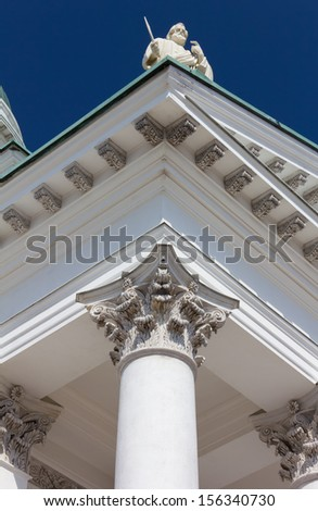 View From the Bottom of a Column of Helsinki Cathedral - stock photo