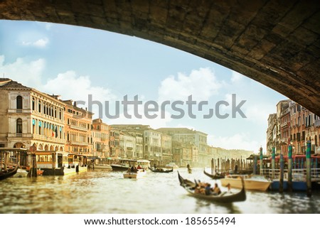 View from the bottom of the Rialto Bridge on Grand Canal in Venice, Italy - stock photo