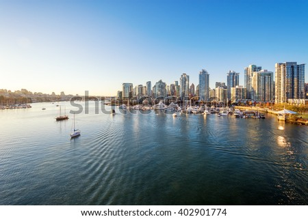 View from the Cambie Bridge. Downtown skyline in Vancouver, Canada. - stock photo