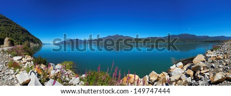 View from the Carretera Austral, Puyuhuapi, Patagonia, Chile, South America - stock photo
