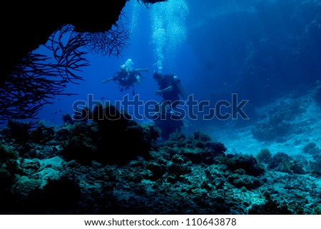 View from the cave at Res Sea - stock photo