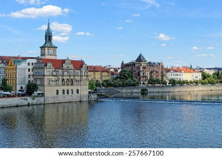 View from the Charles bridge to Smetana museum on the right bank of the river Vltava in the Old Town of Prague. It is dedicated to the life and works of famous Czech composer Bedrich Smetana. - stock photo