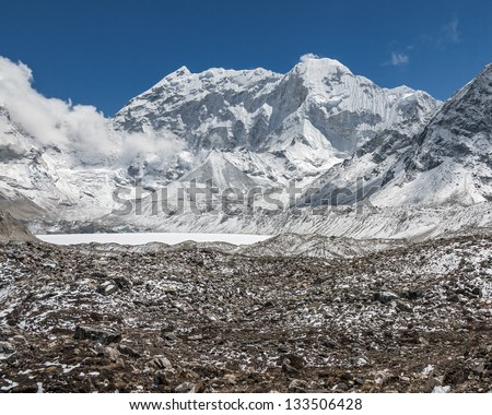 View from the Chhukhung Ri on the Amphulapche peak and Imja Tsho - Everest region, Nepal, Himalayas