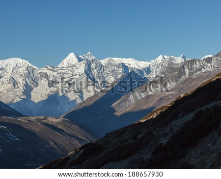 View from the Chhukhung valley to the south  - Everest region, Nepal, Himalayas - stock photo