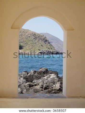 View from the church in the sea at Georgioupolis, Crete