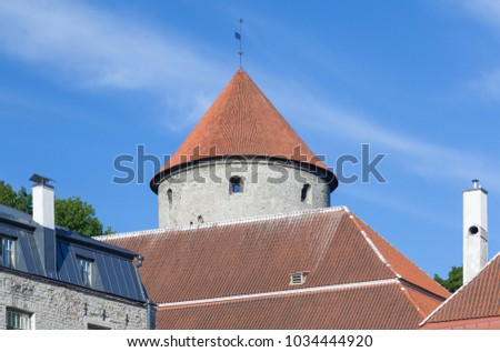 View from the city to the tiled roofs and Bastion Kiek in de Kok is an artillery tower in Tallinn, built in 1475