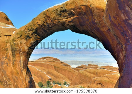 View from the Double-O-Arch in Devil's Garden in Arches National Park, Utah in winter - stock photo