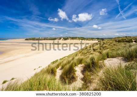 View from the dunes at Porthkidney Sands Beach near Lelant and St Ives Cornwall England UK Europe