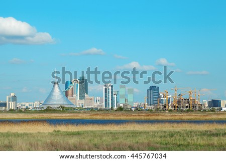 View from the edge to the center of Astana - stock photo