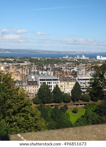 view from the Edinburgh Castle of Edinburgh, Scotland Princes Street Gardens and Queen Street Gardens  with Firth of Forth flowing into the Water of Leith