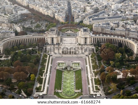 View from the Eiffel Tower shows the Palais De Chaillot, which is across the Seine River - stock photo