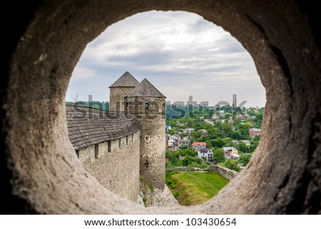 View from the embrasure of a tower at Kamyanets-Podilsky fortress, Ukraine - stock photo