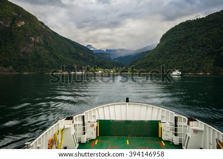 View from the ferry on the Eidsdal. Eidsdalfjord, Norway - stock photo