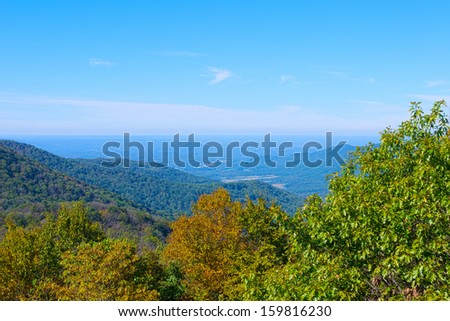 View from the fire tower at Frozen Head State Park, Wartburg, Tennessee - stock photo