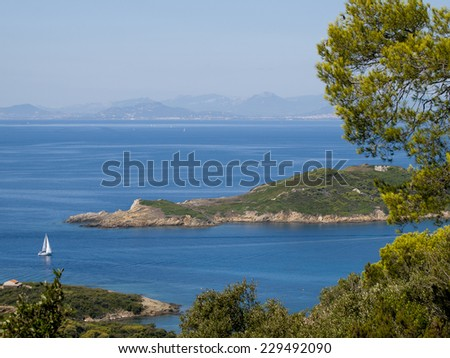 View from the French Port-Cros island in the mediterranean sea - stock photo