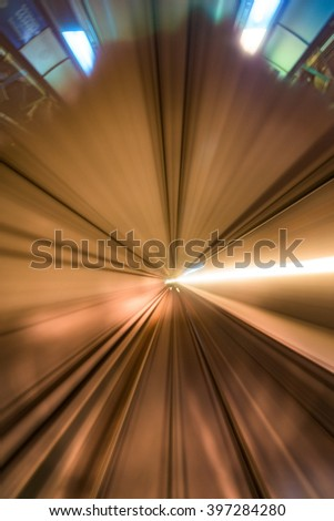 View from the front of a London Docklands Light Railway train as it drives towards Bank station in high speed - stock photo