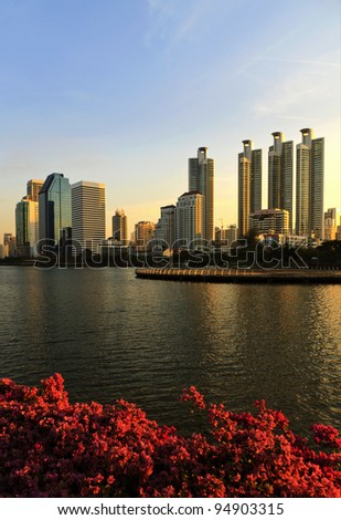 View from the garden in the evening overlooking the city. - stock photo
