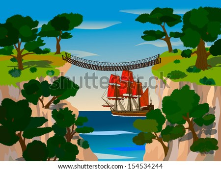 View from the gorge on a ship at sea. can be applied as a child's picture book cover. illustration