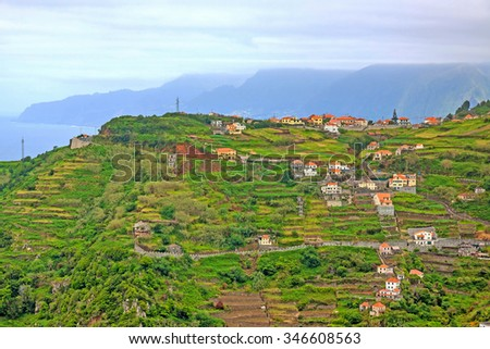 View from the hiking trail Levada do Central da Ribeira da Janela to the Atlantic Ocean, north coast of Madeira