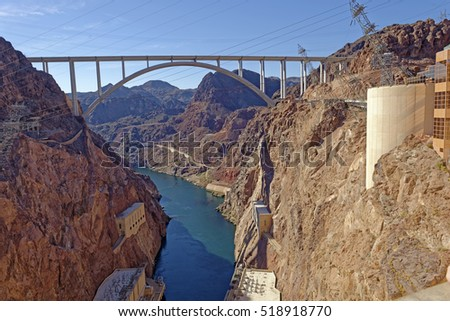 View from the Hoover Dam of the Mike O'Callaghan-Pat Tillman Memorial Bridge across the Colorado River