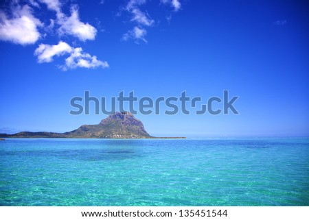 View from the Indian ocean to the Island of Mauritius. South coast of the island. - stock photo