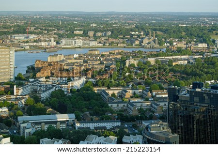 View from the Isle of Dogs looking across the River Thames towards Greenwich, London. - stock photo
