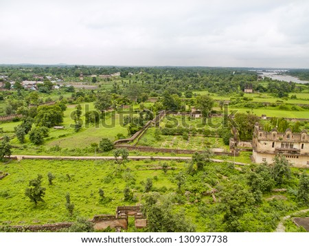 View from the Jehangir Palace (Royal Palace) of Orcha, India. It built by the Orchha King in honour of a Moghul prince, Jehangir. - stock photo