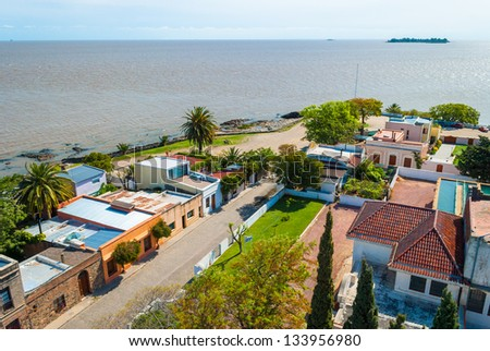 View from the lighthouse of historic neighborhood in Colonia del Sacramento, Uruguay