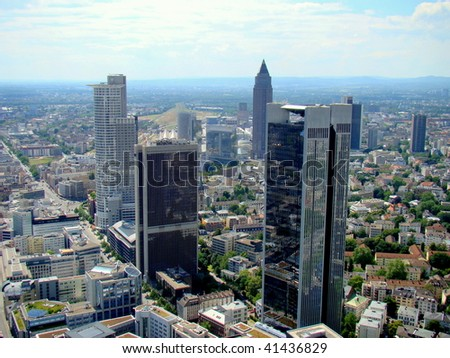 View from the Maintower in Frankfurt am Main, Germany - stock photo