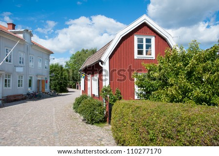 View from the market of Pataholm, Sweden, along the main street with old traditional houses