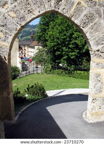 View from the medieval castle in the village of Gruyere - the homeland of Swiss cheese